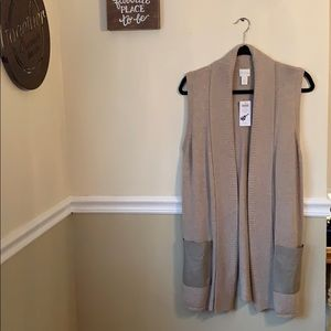 Faux leather pale taupe sleeveless knit vest